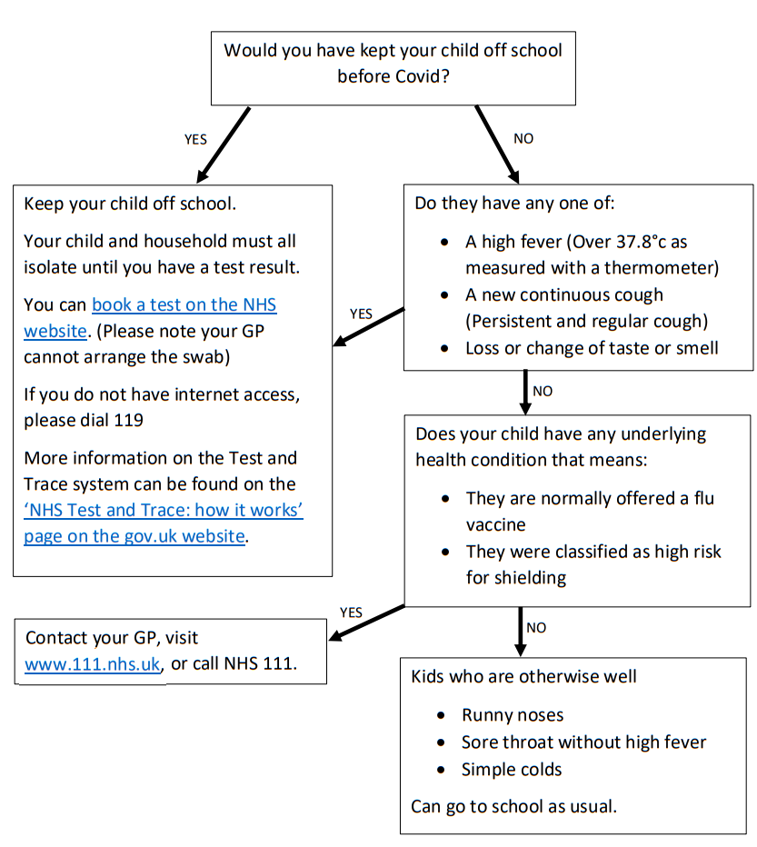 Flowchart to advise when you should and shouldn't send your child to school